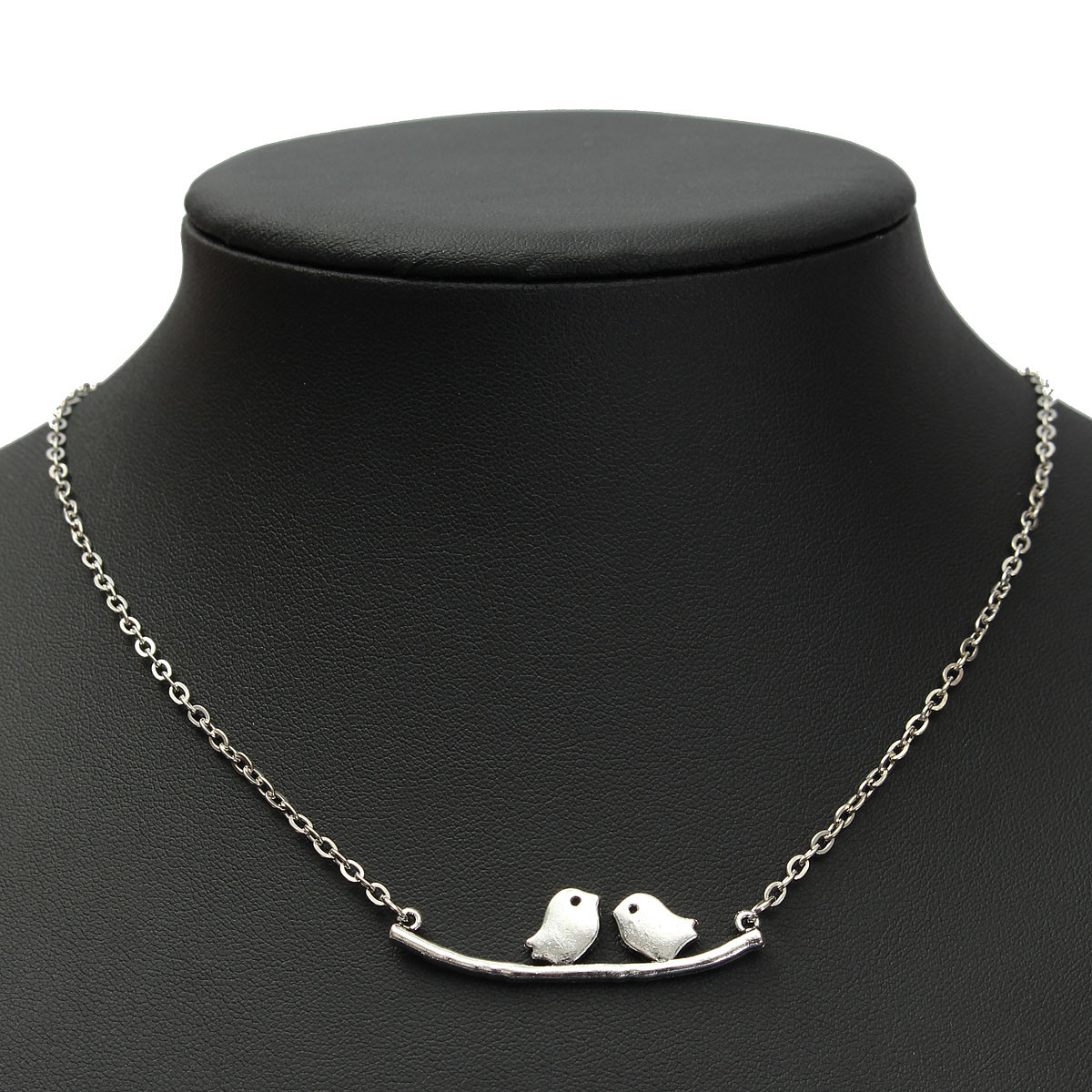 Retro Lovely Birds Branch Silver Clavicle Chain Women Necklace Jewelry