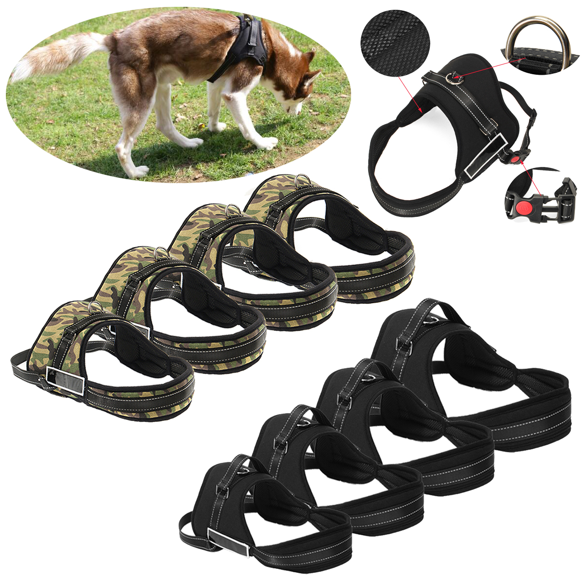Control Dog Pulling Harness Adjustable Support Comfy Pe