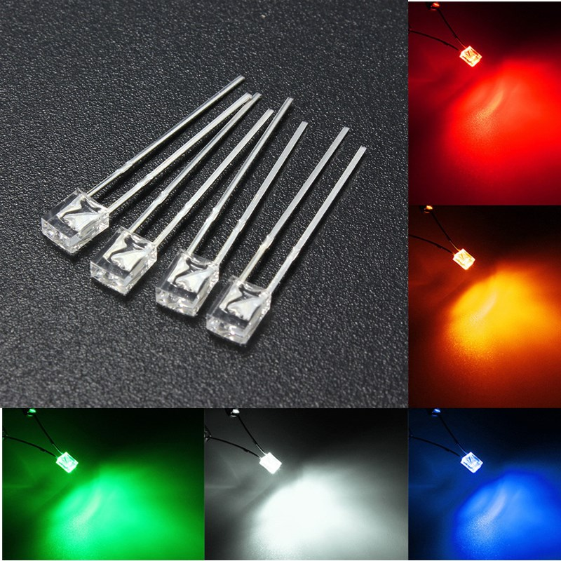 100PCS 2x3x4mm Wide Angle Flat Top LED Diodes Water Cle