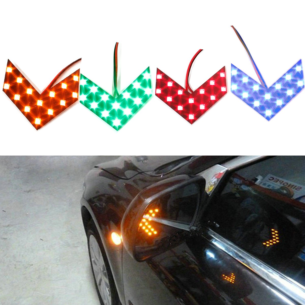 Lights Car 14 Side Mirror Arrow Led Turn Panels Signal Indicator Smd E9WIDH2