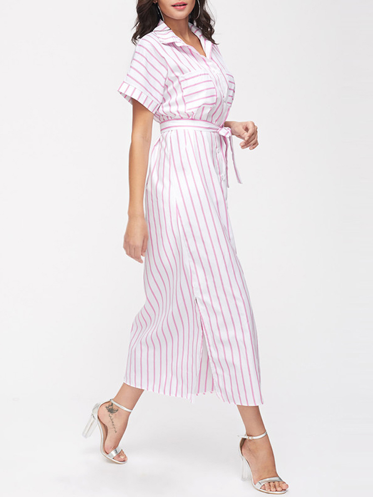 ee712f98a2ae Casual Women Loose Shirt Dress Stripe Split Side Belt Dress with Chest  Pockets