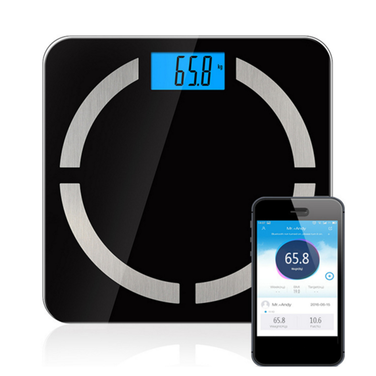 Smart LCD Bluetooth Tempered Glass Fat Scale for Body W