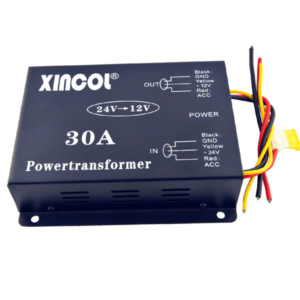 Vehicle Car DC 24V to 12V 30A Power Supply Transformer