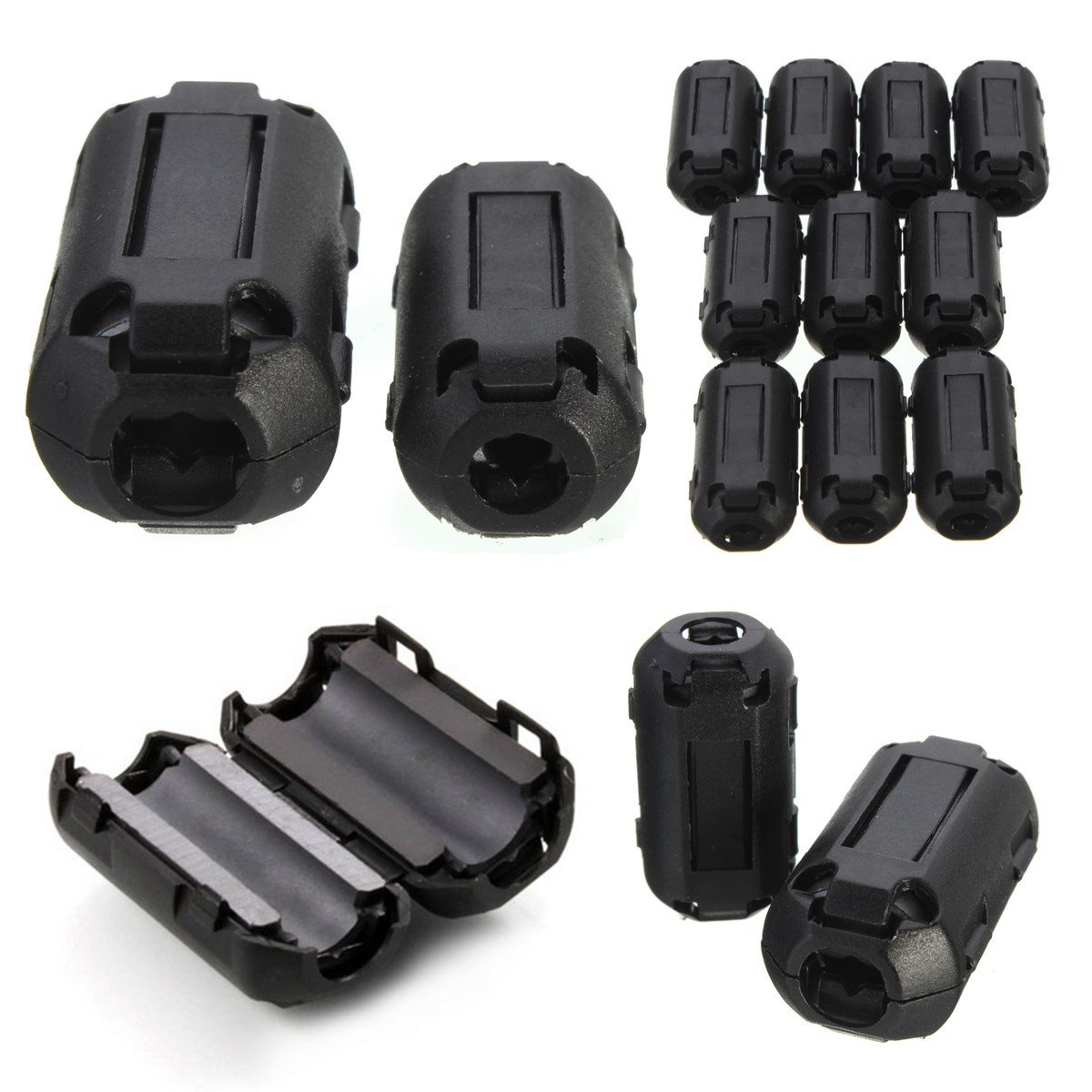 10Pcs Black EMI RFI Noise Ferrite Core Filter Cutting