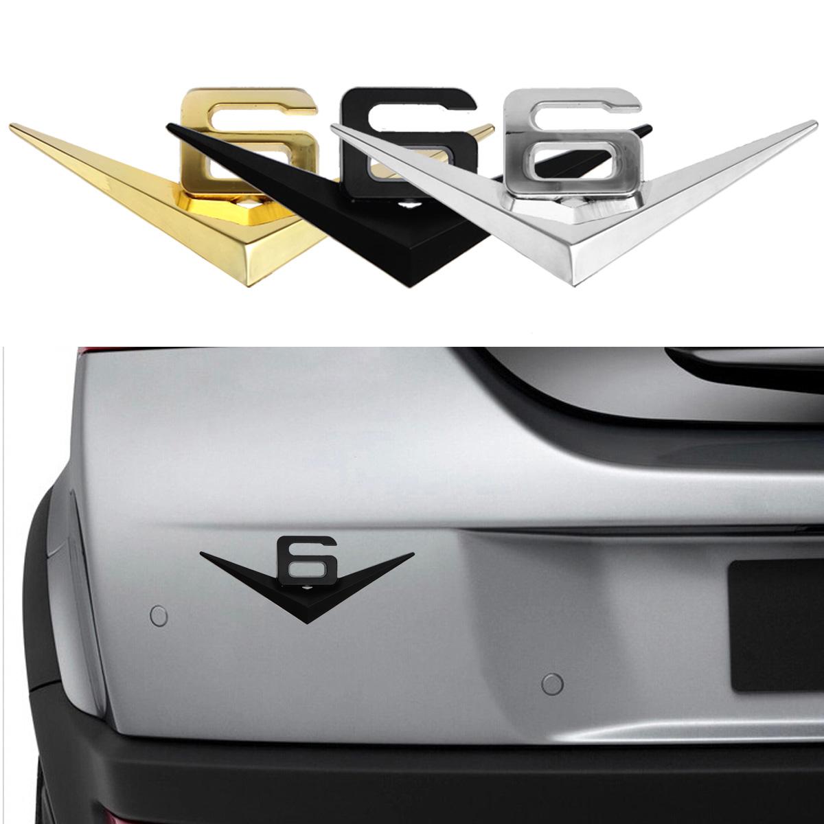 3D Car Metal V6 Emblem Decal Emblem Badge Truck Auto Mo