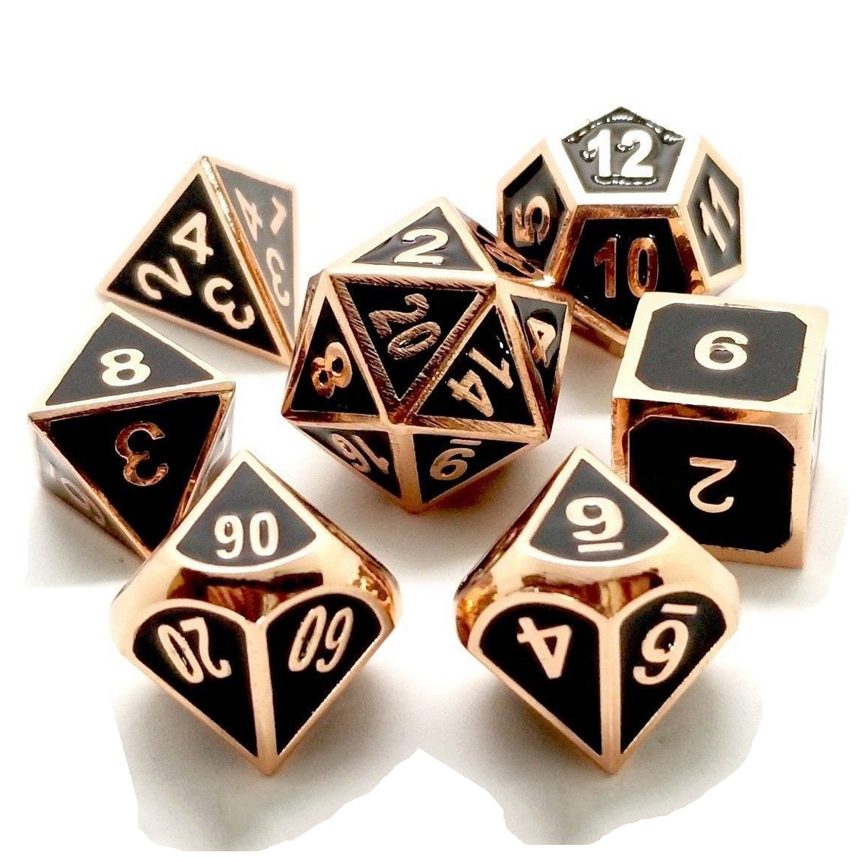 ECUBEE Solid Metal Polyhedral Dice Role Playing RPG 7 D