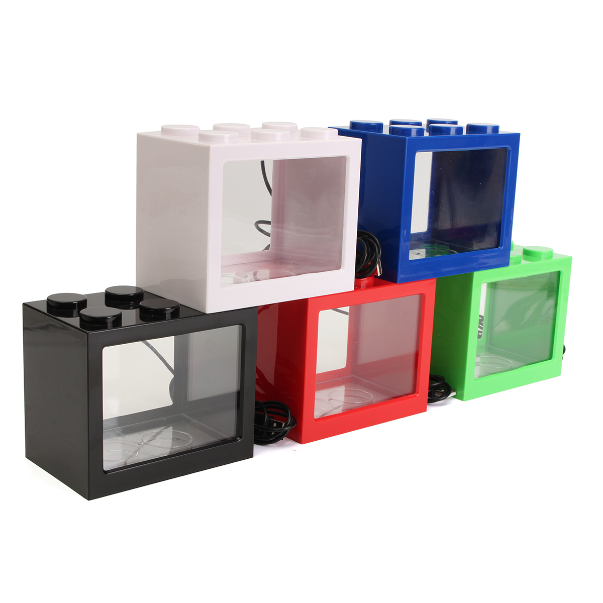 Mini USB LED Light Clear Fish Tank Mini Aquarium Box Be