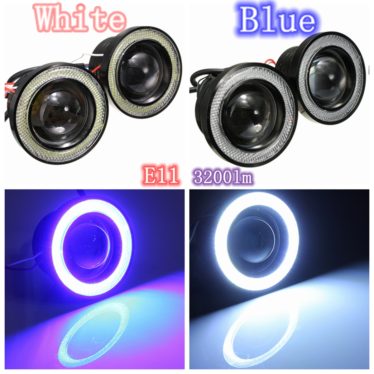 12V Car 3inch COB LED Halo Projector Fog Angel Eyes Blu