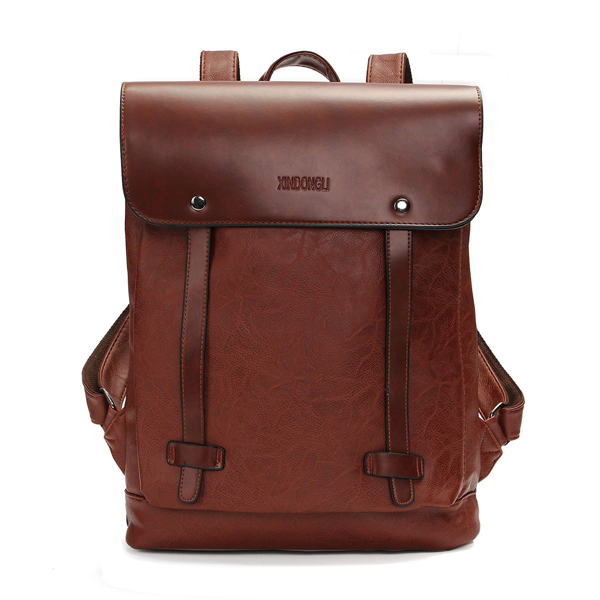 Men Women Vintage Backpack PU Leather Laptop bags Schoo