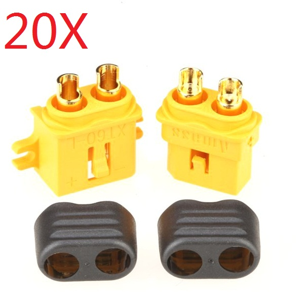 20 Pair Amass XT60-L Plug Connector With Sheath Male & Female