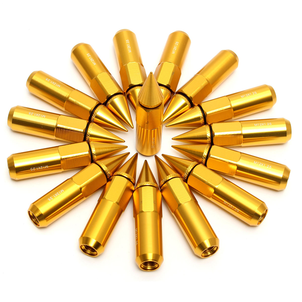 16PCs 30 60mm Gold Spiked Wheels Extended Lug Nuts M12