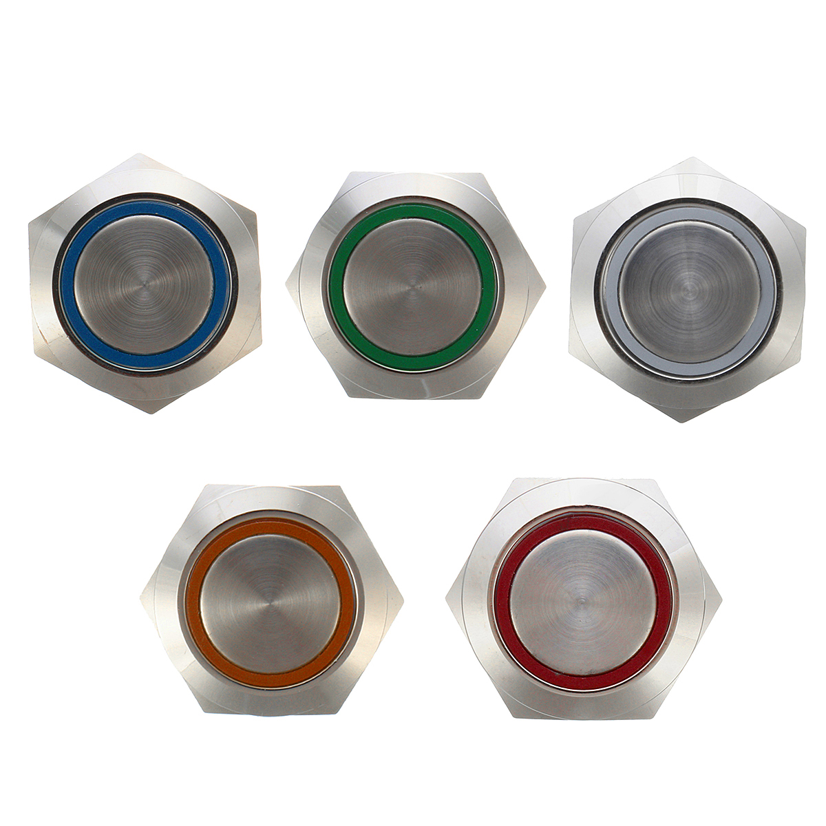 12V 5 Pin 19mm Led Light Stainless Steel Push Button Mo