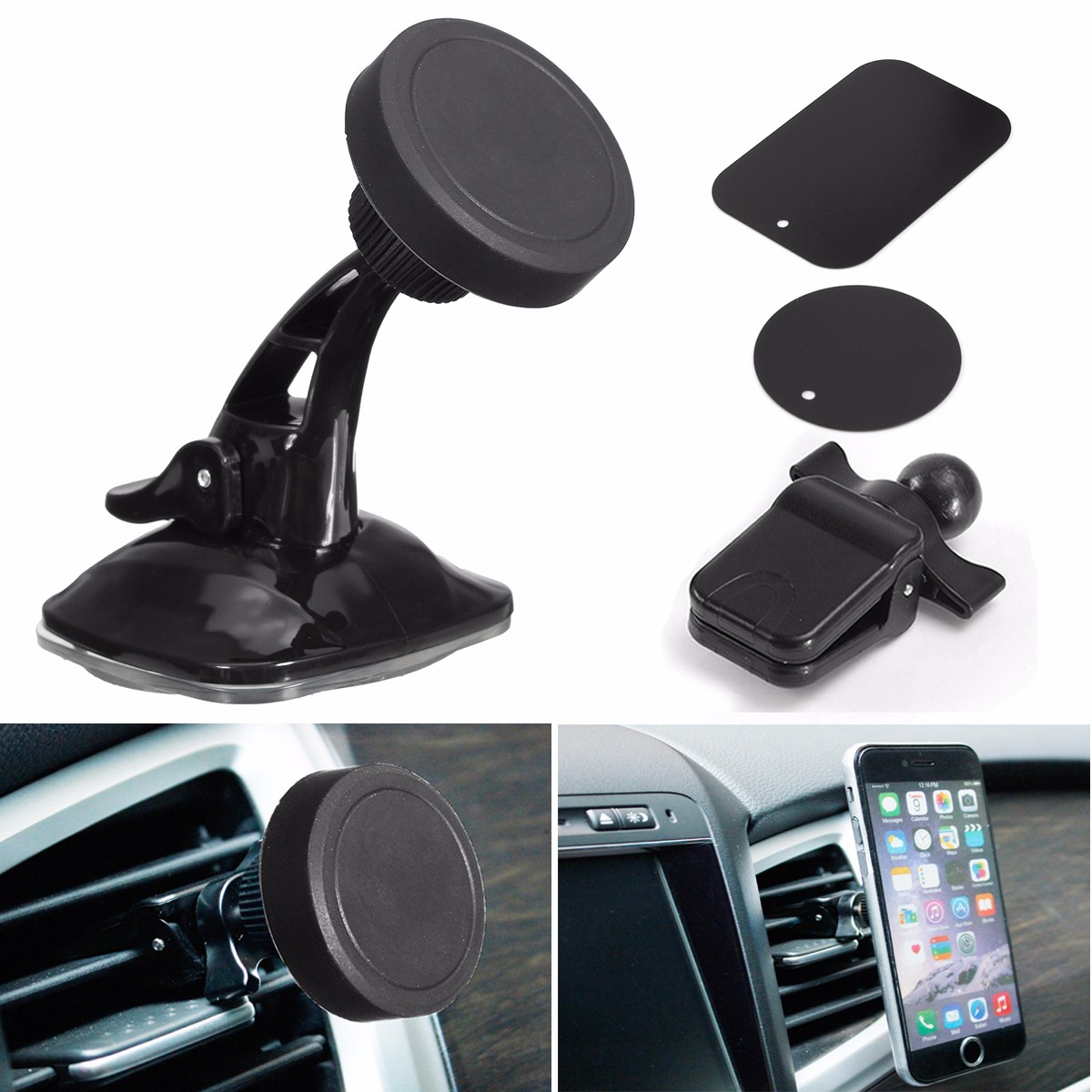 3 In 1 360� Suction Magnetic Car Air Vent Windshield Mount Stand Holder For iPhone Samsung Xiaomi