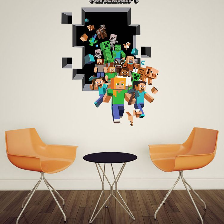 Minecraft M-1 3d Wall Stickers Home Decoration Backgrou