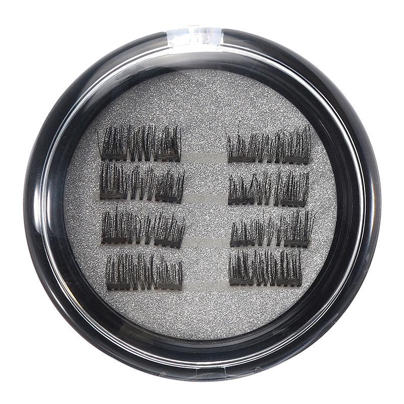 8Pcs/2 Pairs Dual Magnetic 3D False Eyelashes Long Natu