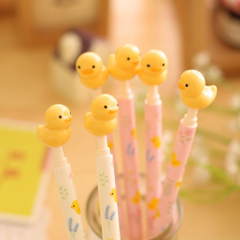1Pcs 0.5mm Cute Yellow Duck Animal 3D Writing Ballpoint