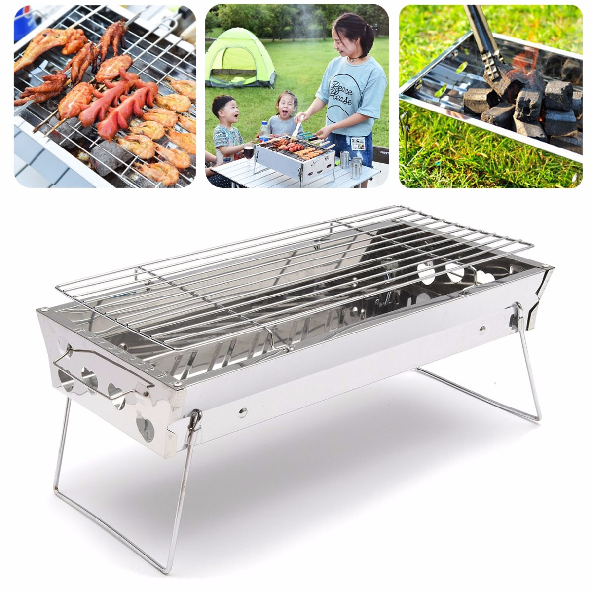 Backpacks hydration packs stainless steel portable outdooors camping table top barbecue - Grill for bbq stainless steel ...