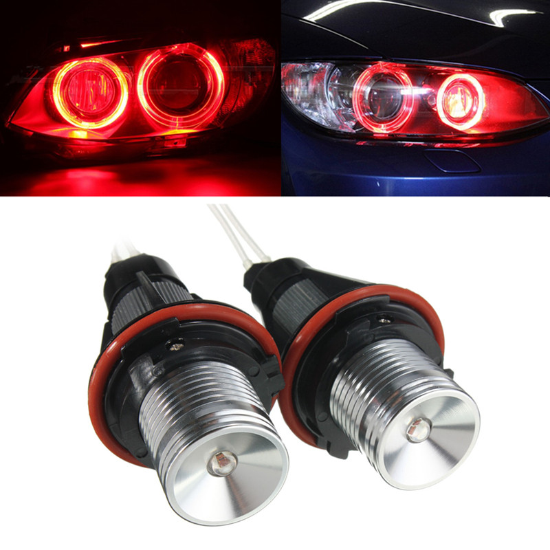 Pair Red Angel Eyes LED Lights Ring Marker Xenon HID fo
