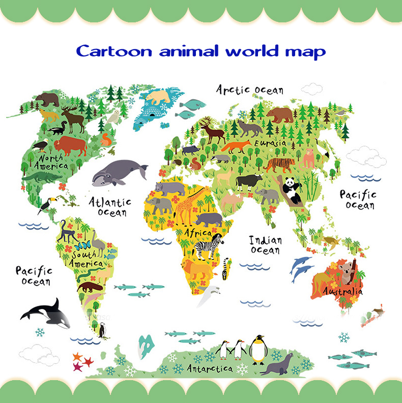 Kids Room Home Decor Great Colorful World Map DIY Remov