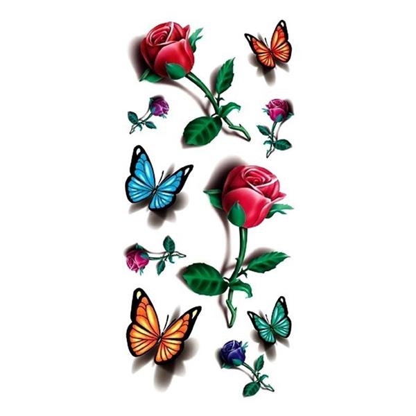 Temporary 3D Butterfly Flower Rose Tattoo Sticker Decal