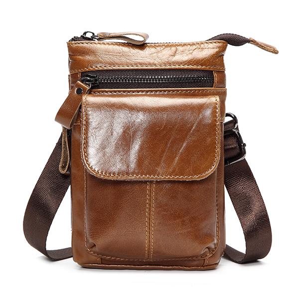 7inch Cellphone Waist Bag Men Retro Genuine Leather Camera Waist Bag