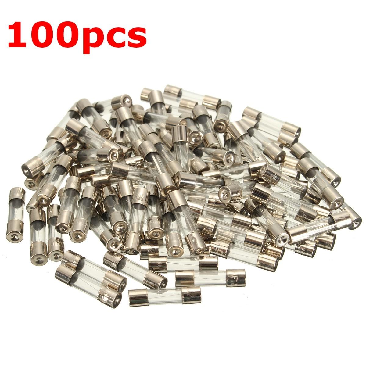100Pcs 5x20mm 0.2A-20A Quick Blow Glass Tube Fuse Assor