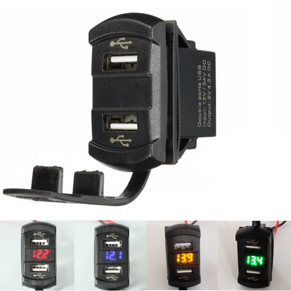 12V 4.2A Dual Usb Charger LED Volt Meterr Voltage Meter