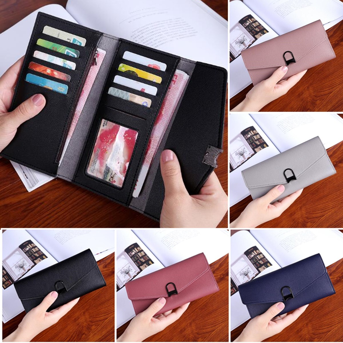 Women Colorful Foldable PU Leather Clutch Bag Wallet Ca