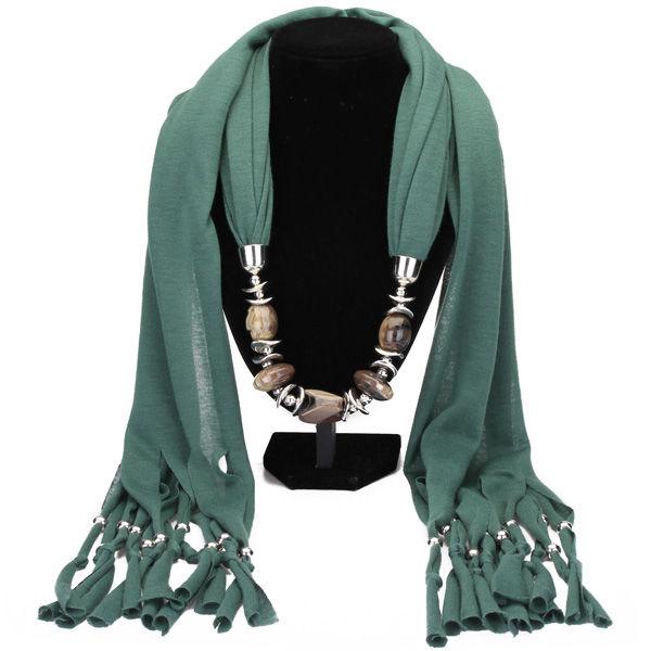 Resin Pendant Tassel Scarf Necklace Women Jewelry Autumn Winter