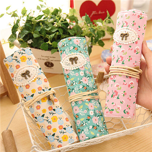 Girl Canvas Roll Pencil Case Makeup Cosmetic Pouch Pen Pocket Storage Holder Bag