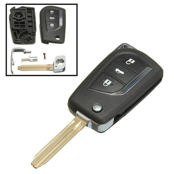 Remote Car Key Fob Cover 3 Button Flip For Toyota Yaris
