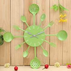 Kitchen Cutlery Utensil Wall Clock Spoon Fork Home Decoration