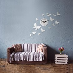 DIY 14 Flying Butterfly Wall Clock Mirror Acrylic Home Decor