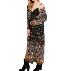Retro Women Clothing Long Kimono Butterfly Print Cardigan