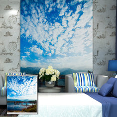 PAG Blue Sky Roller Shutters Print Painting Roller Blind Background Wall Window Decor Curtain