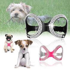 Pet Dog Adjustable Crystal Chest Strap Clip Harness Vest Collar PU Leather Small