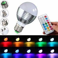 E27/B22/GU10/E14 9W RGBW LED Light Color Changing Lamp Bulb + Remote AC 85-265V