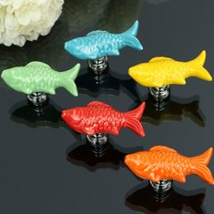 Goldfish Ceramic Knobs Door Furniture Handle