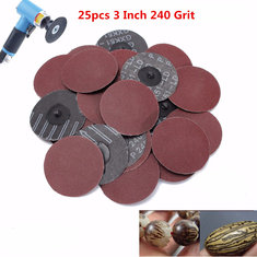 25pcs 3 Inch 75mm 240 Grit R Type Sanding Discs Roll Lock Sandpaper