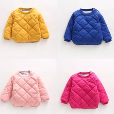 Baby Children Girl Plaid Pure Color O-Neck Long Sleeve Cotton-padded Outerwear