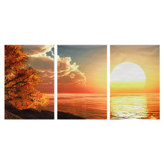 3 Cascade Day Sunset Scene Canvas Painting Decorative Wall Picture Home Decoration Unframed
