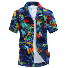 Mens Polyester Quick-dry Summer Casual Plus Size Printing Turn-down Collar Short Sleeve Beach Shirt