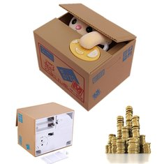 Creative Novelty Cat Steal Coins Piggy Bank Cent Saving Money Box Pot Case Gift