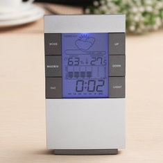 LCD Digital Weather Station Indoor Thermometer Hygrometer Alarm Clock Date Blue