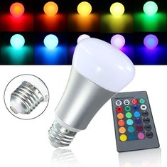 E27 8W RGB Dimmable Color Changing LED Bulb Globe Light Lamp + Remote AC85-265V