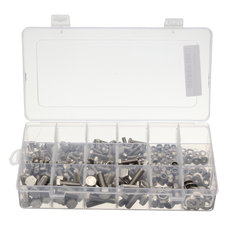 345Pcs M5/M6/M8 Stainless Steel Hex Head Bolts Nuts Nylon Insert Washers Assorted Set with Case