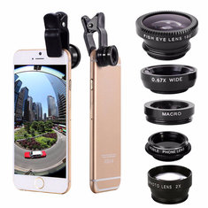 5-In-1 Set Fisheye Wide Angle Marco Telephoto Lens CPL Lens For iPhone 7 6/6S Plus