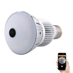 1296P Ultra HD 185 Panoramic Light Bulb Camera Wide Lamp WiFi Hidden Mini IP Camera