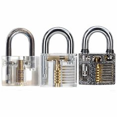 DANIU 3pcs Cutaway Inside View Of Practice Padlocks Lock Pick Tools Locksmith Training Skill Tools Set