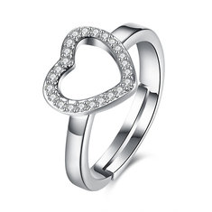 INALIS Love Zircon Platinum Plated Opening Ring Gift Wedding Finger Rings